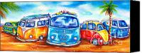 Campervan Canvas Prints - Surf Wagons Canvas Print by Deb Broughton