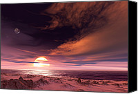 Alien Planets Canvas Prints - Surface Of Extrasolar Planet Gliese 581c Canvas Print by Detlev Van Ravenswaay
