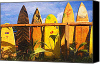Oahu Digital Art Canvas Prints - Surfboard Garden Canvas Print by Ron Regalado
