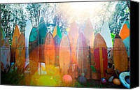 Haiku Canvas Prints - Surfboards Sun Flare Canvas Print by Monica and Michael Sweet