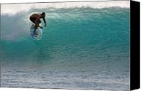 Surf Lifestyle Canvas Prints - Surfer dropping in the blue waves at Dumps Maui Hawaii Canvas Print by Pierre Leclerc