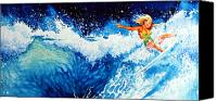 Sports Art Canvas Prints - Surfer Girl Canvas Print by Hanne Lore Koehler