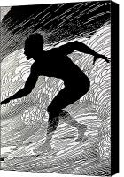 Archival Canvas Prints - Surfer Canvas Print by Hawaiian Legacy Archive - Printscapes