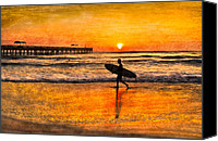 Florida Bridge Canvas Prints - Surfer Silhouette Canvas Print by Debra and Dave Vanderlaan