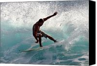 Surf Lifestyle Canvas Prints - Surfer slashing the blue waves at Dumps Maui Hawaii Canvas Print by Pierre Leclerc