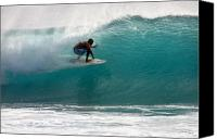 Surf Lifestyle Canvas Prints - Surfer Surfing in the tube of blue waves at Dumps Maui Hawaii Canvas Print by Pierre Leclerc