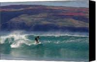 Surf Lifestyle Canvas Prints - Surfer Surfing the blue waves at Dumps Maui Hawaii Canvas Print by Pierre Leclerc