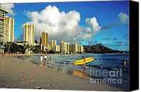 Waikiki Canvas Prints - Surfer Waikiki Beach Diamond Head Canvas Print by Thomas R Fletcher