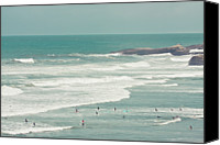 Leisure Canvas Prints - Surfers Lying In Ocean Canvas Print by Cindy Prins