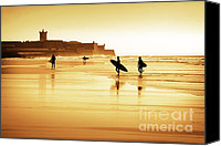 Active Canvas Prints - Surfers silhouettes Canvas Print by Carlos Caetano