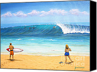 Surf Painting Special Promotions - Surfing Hawaii Canvas Print by Jerome Stumphauzer
