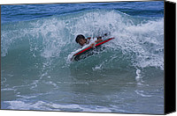Beach Photograph Digital Art Canvas Prints - Surfing Honokohau Maui Hawaii Canvas Print by Sharon Mau