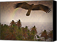 Palm Trees Mixed Media Canvas Prints - Surfing the Island Breeze Canvas Print by Douglas Barnard