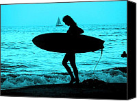 Beach Special Promotions - Surfs Up Blue Canvas Print by Corey Maki