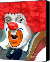 Andrew Digital Art Canvas Prints - Surprised Clown Canvas Print by Methune Hively