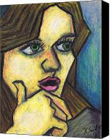 Cubism Canvas Prints - Surprised Girl Canvas Print by Kamil Swiatek