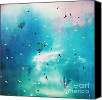 Hot Air Balloons Canvas Prints - Surreal Birds and Balloons Aqua Sky Scene Canvas Print by Kathy Fornal