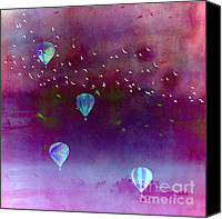 Hot Air Balloons Canvas Prints - Surreal Birds and Balloons Purple Sky Scene Canvas Print by Kathy Fornal