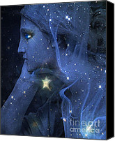 Angel Memorial Art Photo Canvas Prints - Surreal Celestial Blue Female Face With Stars Canvas Print by Kathy Fornal