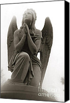 Christian Digital Art Canvas Prints - Surreal Dreamy Angel Praying Looking Up In Sky Canvas Print by Kathy Fornal