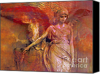 Angel Photographs Photo Canvas Prints - Surreal Fantasy Dreamy Impressionistic Angel Art  Canvas Print by Kathy Fornal