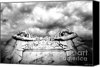 Angel Memorial Art Photo Canvas Prints - Surreal Gothic Cemetery Mourners on Casket Canvas Print by Kathy Fornal