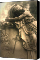 Angel Memorial Art Photo Canvas Prints - Surreal Haunting Cemetery Mourner On Grave Canvas Print by Kathy Fornal