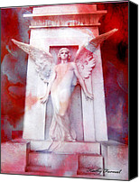 Photographs With Red. Canvas Prints - Surreal Impressionistic Red White Angel Art  Canvas Print by Kathy Fornal