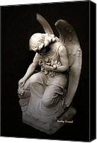 Christian Digital Art Canvas Prints - Surreal Sad Angel Kneeling In Prayer Canvas Print by Kathy Fornal