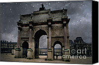 Starry Canvas Prints - Surreal Starry Night Blue Paris Louvre Courtyard Canvas Print by Kathy Fornal