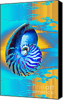 Arts Edge Canvas Prints - Surrealistic Nautilus Blue Canvas Print by H Scott Cushing