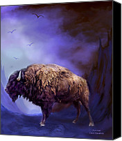 Buffalo Mixed Media Canvas Prints - Survivor Canvas Print by Carol Cavalaris