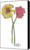 Susan Drawings Canvas Prints - Susan and Poppy Canvas Print by Wendy ONeil