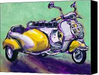 Old Fashioned Painting Canvas Prints - Suzie Sidecar Canvas Print by Sheila Tajima