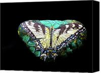 Critter Canvas Prints - Swallowtail Butterfly Pebble Canvas Print by Laura Yamada