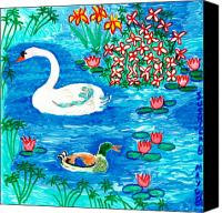 Birds Ceramics Canvas Prints - Swan and duck Canvas Print by Sushila Burgess
