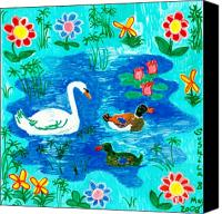 Music  Ceramics Canvas Prints - Swan and two ducks Canvas Print by Sushila Burgess