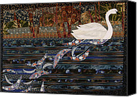 Art Quilt Tapestries - Textiles Canvas Prints - Swan Wake Canvas Print by Linda Beach