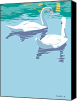 Blue Swan Canvas Prints - Swans bird lake pop art nouveau retro 80s 1980s landscape stylized large painting  Canvas Print by Walt Curlee