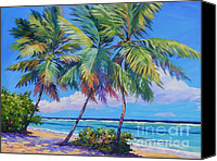 Cuba Painting Canvas Prints - Swaying Palms  Canvas Print by John Clark