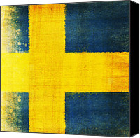 Yellow Canvas Prints - Swedish flag Canvas Print by Setsiri Silapasuwanchai
