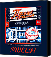 Detroit Tigers Canvas Prints - Sweep Canvas Print by Michelle Calkins
