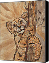 Brown Tiger Painting Canvas Prints - Sweet Baby Canvas Print by Connie Valasco