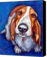 Dog Art Canvas Prints - Sweet Basset Looking Up on Blue Canvas Print by Dottie Dracos