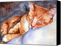 Tabby  Painting Canvas Prints - Sweet Deams Canvas Print by Marias Watercolor