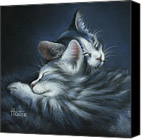 Cats Pastels Canvas Prints - Sweet Dreams Canvas Print by Cynthia House