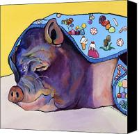Pig Painting Canvas Prints - Sweet Dreams  Canvas Print by Pat Saunders-White