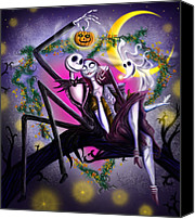 Halloween Digital Art Canvas Prints - Sweet loving dreams in Halloween night Canvas Print by Alessandro Della Pietra
