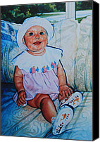 Child Portraits Canvas Prints - Sweetness On A Couch Canvas Print by Hanne Lore Koehler