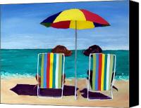 Beach Chairs Canvas Prints - Swim Canvas Print by Roger Wedegis